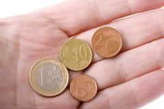 Euro valuta a disposizione Fotografia Stock