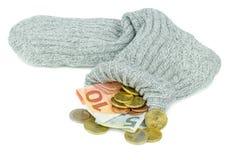 Euro valuta in un vecchio calzino Fotografie Stock Libere da Diritti