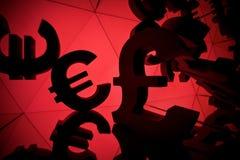 Euro Valutasymbool met velen die Beelden van zich weerspiegelen stock foto
