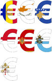 Euro with various flags - set royalty free stock photo