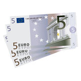 Vector drawing of a 3x5 Euro bills Stock Photography