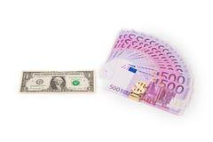 Euro ventilator en dollarrekening Royalty-vrije Stock Foto