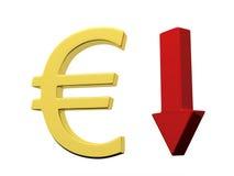Euro vers le bas Image stock