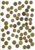 Euro, verschillende muntstukken Stock Afbeeldingen