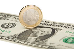 Euro versus dollar. Isolated on white background stock images