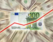 Euro versus Dollar. Concept shot of the falling value of the Dollar against the Euro royalty free stock images