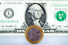 Euro versus dollar Royalty Free Stock Photo
