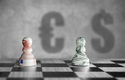 Euro versus dollar currency concept Stock Images