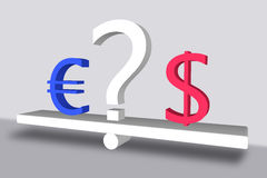 Euro versus dollar with a question mark Stock Image