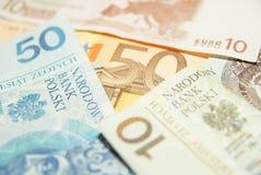 Euro versus Zloty Stock Foto's