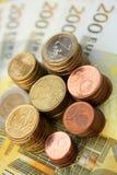 Euro- vertical da moeda Fotografia de Stock