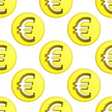 Euro vettore dorato delle mattonelle del modello di simbolo della moneta Immagine Stock Libera da Diritti