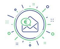 Euro via postlinjen symbol ?verf?r eller motta pengartecknet vektor stock illustrationer
