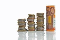Euro vijftig en muntstukken Royalty-vrije Stock Fotografie