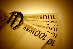 Euro in vintage style. The money euro. Bundle of bank notes in vintage style Stock Photography