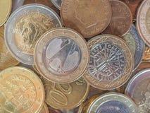 Euro violento a metà contro vecchia priorità bassa Immagine Stock Libera da Diritti