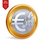 Euro violento a metà contro vecchia priorità bassa moneta fisica isometrica 3D con l'euro simbolo isolata su fondo bianco Illustr Fotografia Stock