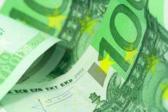 Euro vista di macro dei soldi Immagini Stock Libere da Diritti