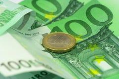 Euro vista di macro dei soldi Fotografia Stock