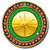 Euro vittoria di simbolo della ruota di roulette Fotografie Stock
