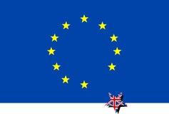 Euro vlag met het verlaten van de Ster van Groot-Brittannië Stock Afbeelding