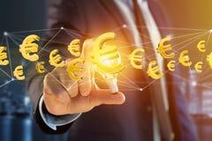 Euro vol de signe autour d'une connexion réseau - 3d rendent Images stock