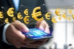 Euro vol de signe autour d'une connexion réseau - 3d rendent Photographie stock