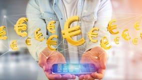 Euro volo del segno intorno ad una connessione di rete - 3d rendono Immagini Stock Libere da Diritti