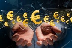 Euro volo del segno intorno ad una connessione di rete - 3d rendono Fotografia Stock