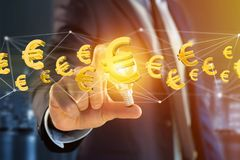 Euro volo del segno intorno ad una connessione di rete - 3d rendono Immagini Stock