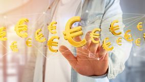 Euro volo del segno intorno ad una connessione di rete - 3d rendono Immagine Stock