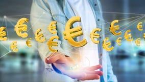 Euro volo del segno intorno ad una connessione di rete - 3d rendono Fotografia Stock Libera da Diritti