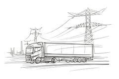 Euro Vrachtwagen in de industial streekillustratie Vector Royalty-vrije Stock Afbeeldingen