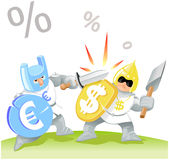 Euro vs dollar. Funny euro is fighting vs dollar vector illustration