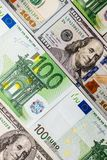 Euro banknotes close up. Several hundred euro banknotes. Euro vs dollar as background stock photos