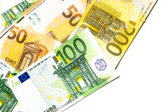 Euro banknotes close up. Several hundred. Euro vs dollar as background stock images