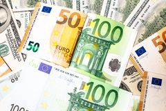 Euro banknotes close up. Several hundred. Euro vs dollar as background stock photo