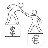 Euro vs dollar icon, outline style Royalty Free Stock Photography
