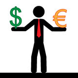 Euro vs dollar. Vector / illustration. Man holding in his hands the euro and dollar signs stock photography