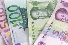 Euro vs. Yuan Stock Photography