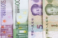 euro vs yuan Royaltyfria Foton