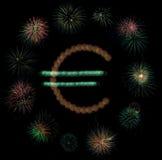 Euro vuurwerk Royalty-vrije Stock Foto's