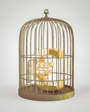 Euro wśrodku ptasiej klatki ilustracji