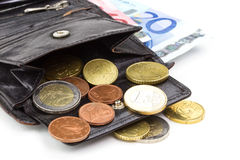 Euro wallet. Leather wallet with euro banknotes and coins Royalty Free Stock Photography