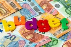Euro waluta budżet i słowo zdjęcie royalty free