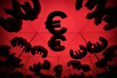 Euro waluta symbol Z Wiele Odzwierciedla wizerunkami Ja obraz stock