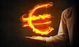 Euro waluty pożarniczy symbol Zdjęcia Stock