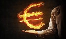 Euro waluty pożarniczy symbol Obrazy Stock
