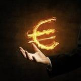 Euro waluty pożarniczy symbol Fotografia Stock