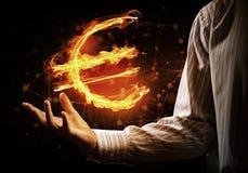 Euro waluty pożarniczy symbol Zdjęcie Stock